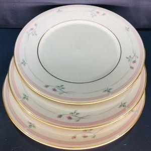 Set of 3 LENOX Rose Manor Pink Salad Plates EUC